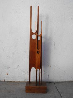 "Modern Wood Sculpture ""FAMILY' Three Abstract Figures that Make up a Family. 1960's. Mounted on a Block of Wood"