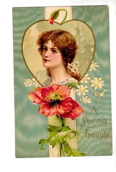 US2057 Postcard Artist designed Valentine Woman