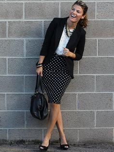 Mixing prints with a polka-dot pencil skirt.