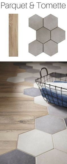 A trendy alliance for the floor: parquet & tomette House Design, Flooring, House Inspiration, Kitchen Flooring, House Interior, Home Deco, House, Floor Remodel, Home Decor