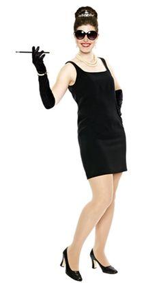 Clothing:•Black dress Accessories:•Big Sunglasses•Pearl necklace•Tiara•Cigarette holder•Black gloves•Black shoes•Vintage jewelry
