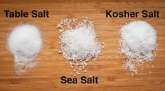 The main difference between kosher salt and sea salt is size: Kosher is less processed and therefore has bigger crystals. For a wicked flavor in your meats, use sea salt because the large crystals improve texture and taste. However, for most cases, kosher Kosher Recipes, Cooking Recipes, Cooking Hacks, Cooking 101, Rub For Pork Ribs, Basted Eggs, Perfect Grilled Cheese, Searing Meat, Perfect Quinoa