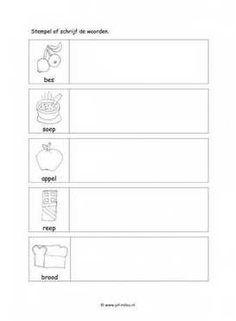 Werkblad eten en drinken - Woorden stempelen