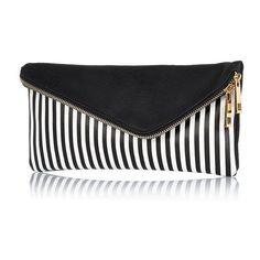 River Island Black and white stripe asymmetric clutch bag found on Polyvore