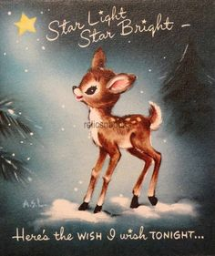 Gibson Deer in the Starlight Vintage Christmas Card Vintage Christmas Images, Old Fashioned Christmas, Christmas Deer, Christmas Past, Retro Christmas, Vintage Holiday, Christmas Pictures, Winter Christmas, Vintage Images