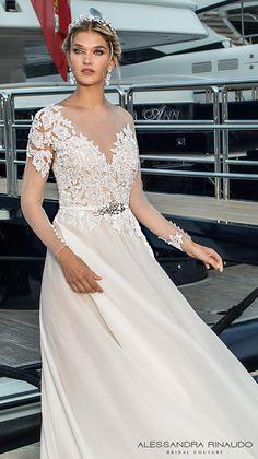 alessandra rinaudo 2017 bridal illusion long sleeves illusion boat neck v neck heavily embellished bodice sheer back long train (bliss) zv