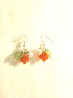Your place to buy and sell all things handmade Orange Earrings, Leaf Earrings, Flower Earrings, Orange Crystals, Autumn, Fall, Pearl White, Finland, White Flowers