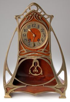 German Art Nouveau table clock, Stock Company for Uhrenfabrikation Lenzkirch, Black Forest
