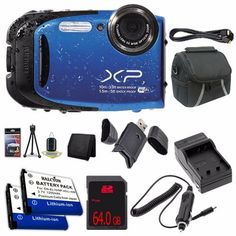 Fujifilm FinePix XP75 16 MP CMOS WiFi WaterProof Digital Camera Blue  ENEL10 Replacement Lithium Ion Battery  External Rapid Charger  64GB SDHC Class 10 Memory Card  Mini HDMI Cable  Carrying Case  SDHC Card USB Reader  Memory Card Wallet  Deluxe Starter Kit DavisMAX Bundle *** To view further for this article, visit the image link.