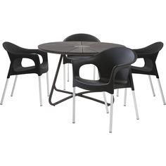 Derby havebord med bordplade i sort polywood og midte i granitlook. Samos stabelbar havestol i plast. Sætpris bord + 4 stole