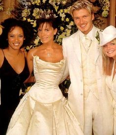The wedding of David Beckham and Victoria Adams became a rather spicy affair when Victoria's Spice Girls band mates arrived. How gorgeous do they all look? David Beckham Wedding, Victoria Beckham Wedding, David Y Victoria Beckham, Victoria And David, Celebrity Wedding Photos, Celebrity Weddings, Spice Girls, Top Celebrities, Celebs