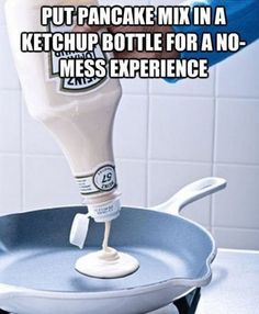 """Perfect Pancakes & DIY Homemade Bisquick Shake 'N Pour My family loves pancakes, but I hate making them because of the mess! Well, I found this awesome little hack that will save your counter top from the """"pancake drip"""" – pour your mix into a clean ketchup bottle and squeeze it into the pan for …"""