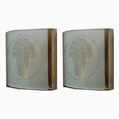 Antique Art Nouveau Square Murano Glass and Brass Wall Light, 1910, Se...