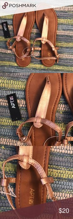 Gold sandals Apt 9 gold/copper sandals, brand new with tag! Women's large size 9-10 Apt. 9 Shoes Sandals