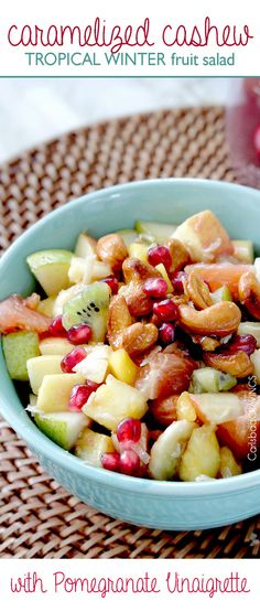 Sweet, refreshing, crunchy Tropical Winter Fruit Salad with Caramelized Cashews, and Pomegranate Vinaigrette sprinkled with toasted coconut bursting with tropical fruit. One of my favorite salads EVER to have on hand, bring to parties, can be made ahead and stores beautifully. #giveaway #EverydayMarzetti, and #ad or #spon #fruitsalad