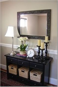 Shaker entry tables present wonderful decorating opportunities that shouldn't be ignored See more ideas about Entry table decorations, Entrance table and Entrance table decor Farmhouse Style, Hallways, How to build Entrway, Small, Rustic, Narrow, Glass, Mirror, couple Home Project