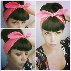 SALE Skinny Neon Hot Pink one sided Headwrap Bandana Hair Bow Tie 1950s Vintage Style - Rockabilly - Pin Up - For Women, Teens