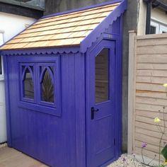 Gothic half shed finished with sadolin superdec in african violet Shed Wall Ideas, House Ideas, Backyard Sheds, Garden Sheds, Posh Sheds, Man Shed, Diy Exterior, Garden Storage Shed, Potting Sheds