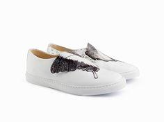 Collezione A I 2018. Sneaker bianco con inserto motivo farfalla Massimo  Melchiorri 24c392accf5