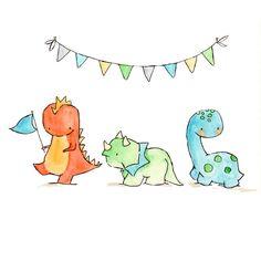 Dinosaur Parade Nursery Art Dragon Dinosaur by ohhellodear