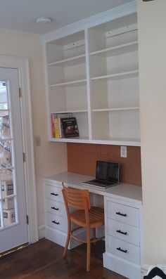 DIY-Ikea bookcases and drawers to create desk and bookcase
