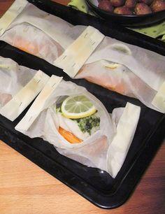 O Meu Tempero: Medalhões de pescada com cenoura em papelote