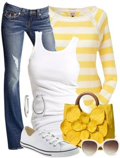 Casual spring outfit: when life gives you lemons, wear yellow- yellow striped shirt or cardigan, white tank, jeans, white chucks. Yellow accents.