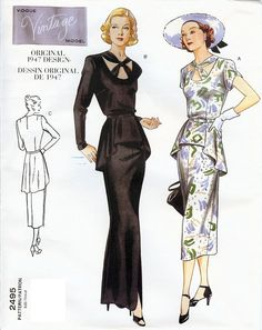 Vogue Vintage Model Original 1947 Design Pattern by AllThingsVogue sld 12/19/14 15+3