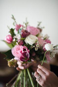 diy bridal bouquet tutorial | a pretty posy of pinks recipe