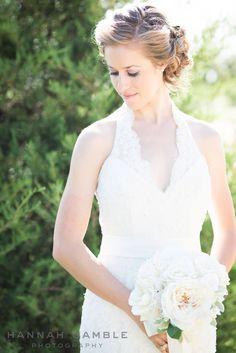 Bridal portrait, lace halter wedding gown   Hannah Gamble Photography