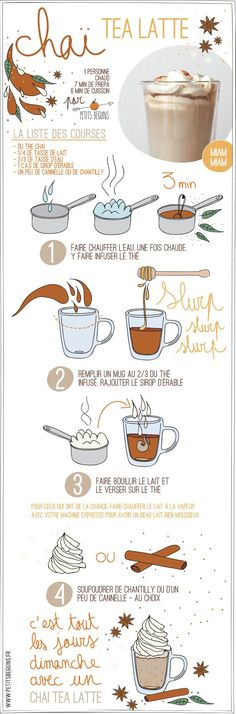 Chai tea latte - Boisson chaude - Petits Béguins Even though I cant read the directions I want to make this. I love chai and this infographic rocks Tea Recipes, Coffee Recipes, Sweet Recipes, Cooking Recipes, Healthy Recipes, Chaï Tea Latte, Chai Tee, Drinking Tea, Chefs