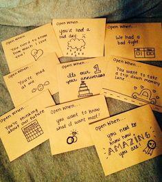 Open when... letters for the boyfriend. #bestgfaward #boyfriendgifts