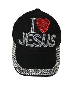 73f579ce01250 I Love Jesus Girl Ladies Denim Jean Campagne Adjustable Baseball Cap Hat  Black CX12HLGT8TB