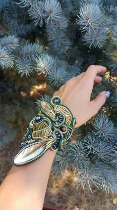 Large Green Gold Cuff bracelet  Soutache bracelet  Big
