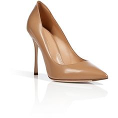 SERGIO ROSSI Leather Pointed Toe Pumps in Camel