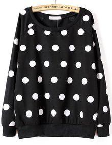 Black Long Sleeve Polka Dot Loose Sweatshirt