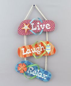 Loving this 'Live Laugh Relax' Flip-Flop Wall Sign on #zulily! #zulilyfinds