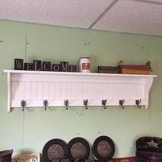 """Coat Rack Wood Country Wall Shelf White 53"""" Wide Display Wall Shelf Hanging Antique Iron Hooks by appletreewoodcrafts on Etsy https://www.etsy.com/listing/232243676/coat-rack-wood-country-wall-shelf-white"""
