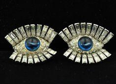 Vintage Mazer Surrealist Blue Eyed Earclips Earrings | eBay