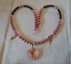Angelic Pink & Charcoal Pearls with Heart by DeanasQuiltsandMore