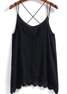 Black Spaghetti Strap Lace Hem Vest