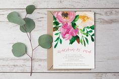 DIY Printable Watercolour Flower Bridal Shower / Hens Party Invitation in Pink, Green and Cream