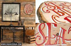 14 x12 x.75 Acrylic Lettering on Pine Stump www.sharksugar.com
