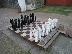 Chess made out of plastic bottles!/could use BBQ tubs, ice cream tubs, gallon jugs, half gal, etc