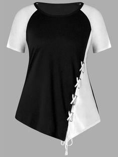 Plus Size Lace Up Color Block T-shirt - BLACK WHITE 3XL