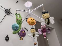 crochet mobile  amigurumi mobile  garden friends  sun