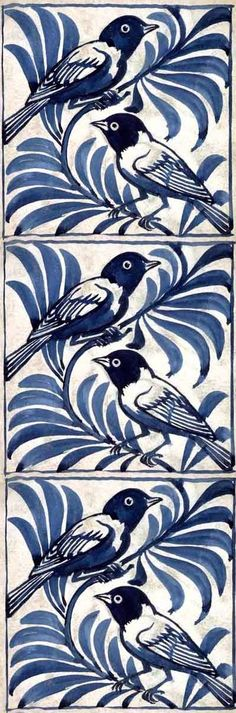 Weaver birds tile by William de Morgan. Blue and white tiles are the best! Tile Patterns, Textures Patterns, Love Blue, Blue And White, Arts And Crafts Movement, Tile Art, William Morris, Delft, My Favorite Color