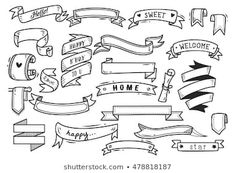 Set Banner Doodle Isolated On White Stock Vector (Royalty Free) 462826480 Doodle Learn, Banner Doodle, Hand Lettering Alphabet, Photoshop, White Stock Image, Typography Fonts, Embroidery Designs, Royalty Free Stock Photos, Doodles