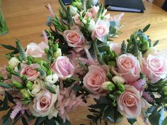 Bridesmaid bouquets for summer wedding at St Michael's Manor St Albans Herts - created by Willow House Flowers Aylesbury florist - www.willowhouseflowers.co.uk