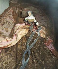 Antique German Dressel Kister Boudoir Half Doll Arms Away Ribbon Roses Sweet | eBay